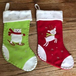 🎄Set of two fleece stockings deer bear cute 🎄